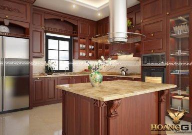 Mẫu tủ bếp làm bằng gỗ hương cuốn hút