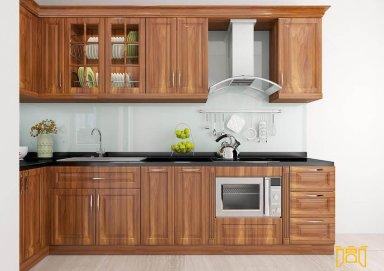 Mẫu tủ bếp sang trọng làm bằng vật liệu gỗ lát chât lượng