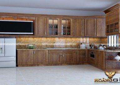 Mẫu tủ bếp cao cấp làm bằng vật liệu gỗ lát