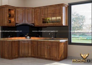 Mẫu tủ bếp làm bằng vật liệu gỗ lát cao cấp