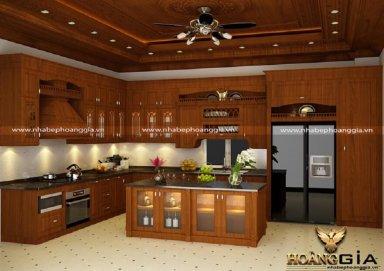 Mẫu tủ bếp gỗ sồi Mỹ 08