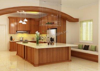 Mẫu tủ bếp gỗ tự nhiên 06