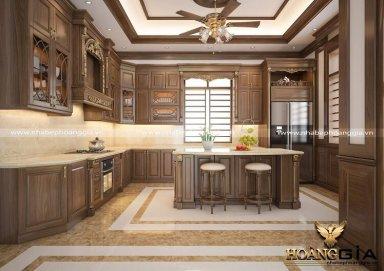 Mẫu thiết kế tủ bếp tân cổ điển gỗ tự nhiên cao cấp sang trọng