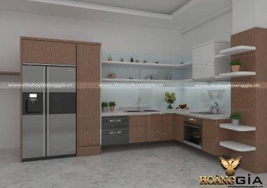 Mẫu tủ bếp sang trọng làm bằng chất liệu Laminate chất lượng