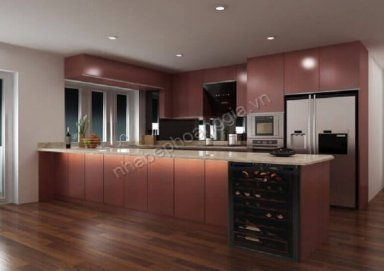 Mẫu tủ bếp làm bằng vật liệu Laminate cao cấp