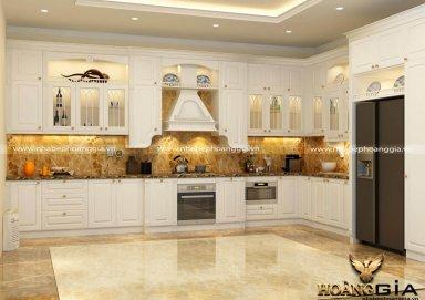 Mẫu tủ bếp phủ sơn trắng cao cấp phong cách tân cổ điển