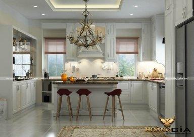 Mẫu tủ bếp cao cấp được phủ lớp sơn trắng cao cấp