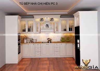 Mẫu tủ bếp đẳng cấp sơn trắng thanh lịch