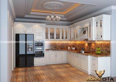 Mẫu tủ bếp sơn màu trắng phong cách tân cổ điển sang trọng