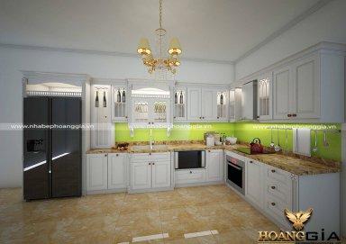 Mẫu tủ bếp được sơn trắng ấn tượng