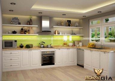 Mẫu tủ bếp phong cách tân cổ điển sơn trắng cao cấp