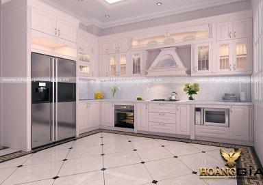 Mẫu tủ bếp cao cấp sơn trắng cuốn hút
