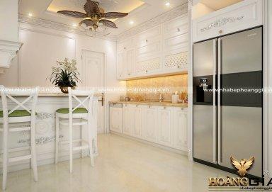Mẫu tủ bếp trang nhã sơn trắng đẹp