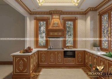 Mẫu tủ bếp tân cổ điển dát vàng hoàng gia cao cấp
