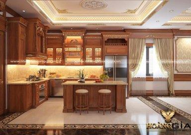 Tủ bếp tân cổ điển gỗ gõ đỏ cao cấp cho nhà biệt thự