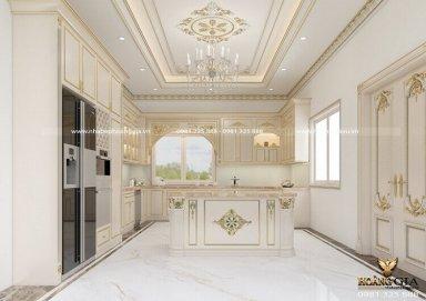 Tinh tế với mẫu tủ bếp tân cổ điển sơn trắng cho nhà biệt thự