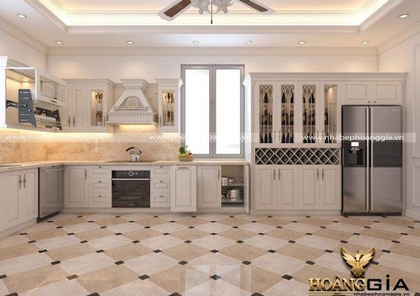 Dự án thiết kế và thi công tủ bếp tân cổ điển sơn trắng nhà anh Hiếu (Nam Định)