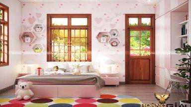 Ý tưởng thiết kế nội thất phòng ngủ màu hồng 15m2 dễ thương cho bé gái